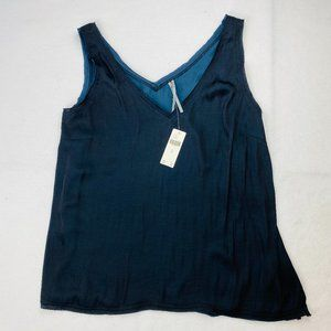 Anthropologie Navy Double V-Neck Tank Top Split M